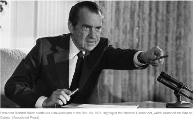 Nixon signing the National Cancer Act
