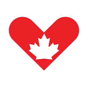 Canada Giving Tuesday Logo red heart with outline of maple leaf
