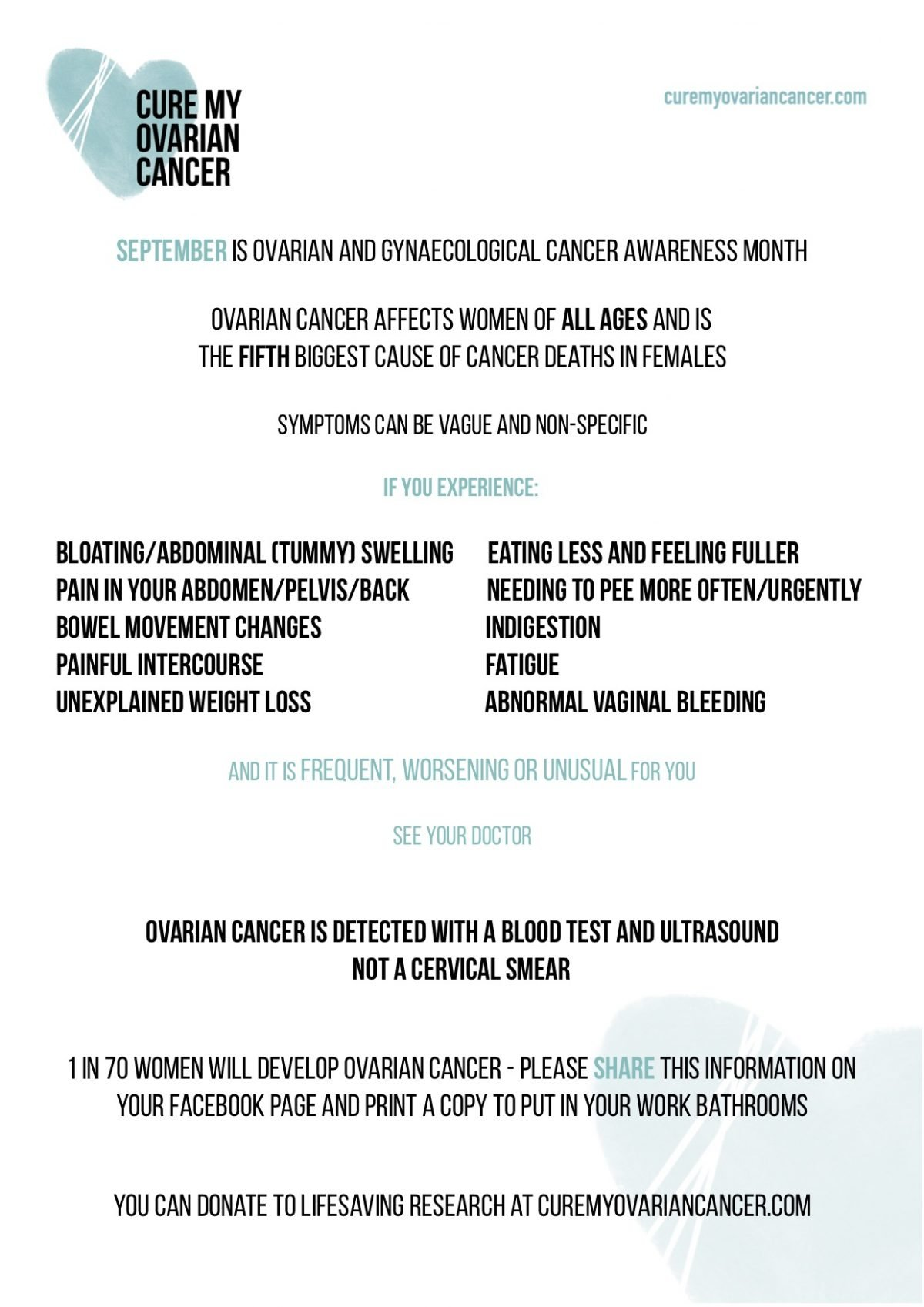 September Is Ovarian Cancer Month International